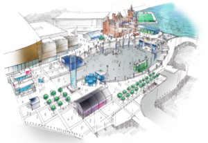 A floating football pitch is being built in Cardiff Bay