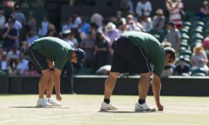 Groundskeepers Defend Wimbledon Courts
