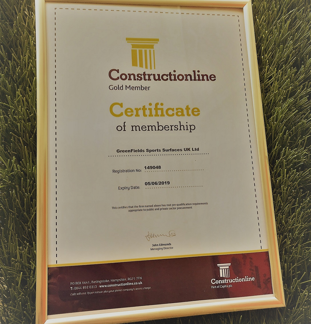 Greenfields Awarded Constructionline Gold Certificate