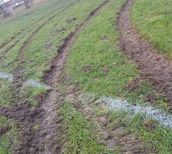 Sports Pitch Ruined By Quad Bike