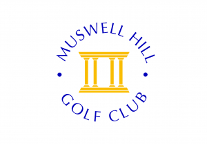 Muswell Hill GC Logo - the name circling 4 gold Roman coloumns