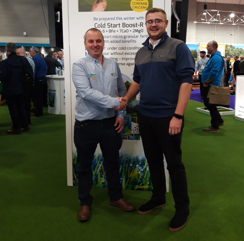 James Moverley (left), Rigby Taylor's recently-appointed technical sales trainee, congratulates Alex Cox on receiving a Young greenkeeper's scholarship, sponsored by Rigby Taylor and BIGGA Midlands region
