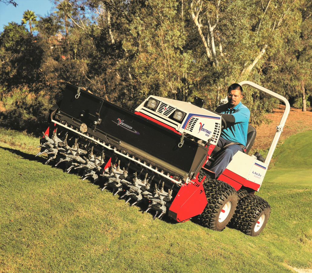 Aerate and overseed in one pass with Ventrac