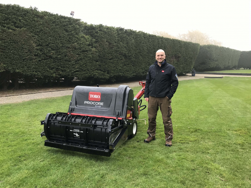 Chris Wright, course manager, with the Toro ProCore 648 and Nordic Plow Core Solutions attachment, at Thorpe Hall Golf Club.